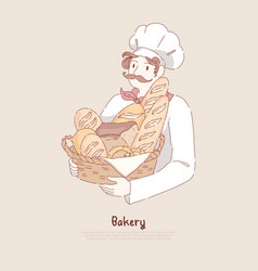 young man in chef cap holding basket with homemade vector image