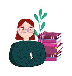 young woman with stack books book day vector image
