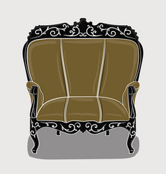 an armchair with a eige upholstery and black vector image vector image