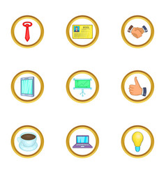 Business event icons set cartoon style vector