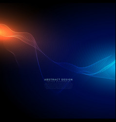 digital particles flow on blue technology vector image vector image