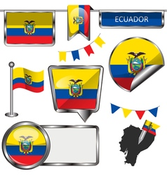 Glossy icons with ecuadorian flag vector