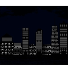Silhouette of Big City on Background of Dark Sky vector image vector image