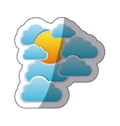 sticker cloudscape with sun between cumulus vector image