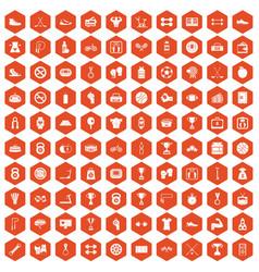 100 boxing icons hexagon orange vector image vector image