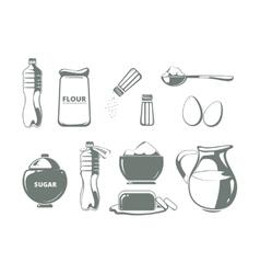 Baking ingredients monochrome set vector image