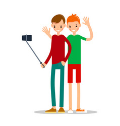 boy with mobile phone man do selfie vector image
