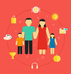 concept family with icons lifestyle young couple vector image vector image