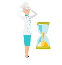 worried senior caucasian chef looking at hourglass vector image
