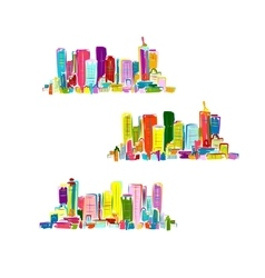 Abstract colorful city sketch for your design vector image