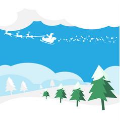 christmas greeting card with santa claus vector image