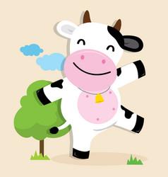 cow cute character cartoon design vector image vector image