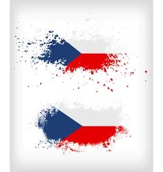 Grunge czech ink splattered flag vector image