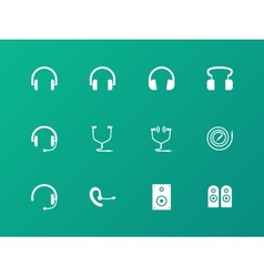 Headphones and headset icons on green background vector image vector image