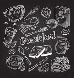 healthy breakfast hand drawn doodle food vector image vector image
