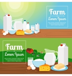 Milk farm dairy products banners vector image vector image