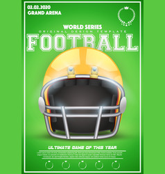 poster template of american football helmet vector image