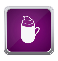 purple emblem cuppa coffee with cream icon vector image vector image