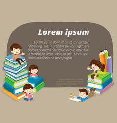 back to school background with group of children vector image