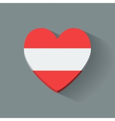Heart-shaped icon with flag of Austria vector image vector image