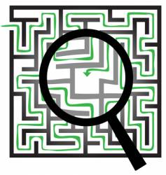maze puzzle magnifying glass vector image vector image