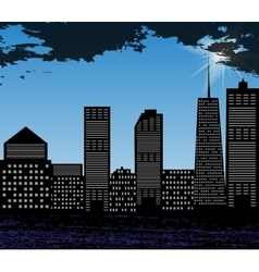 Silhouette of Big City on Background of Bright vector image vector image