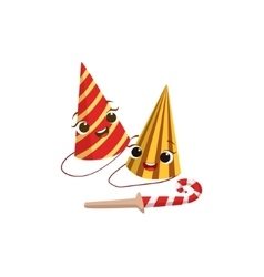 Two Paper Party Hats And Horn Kids Birthday Party vector image vector image