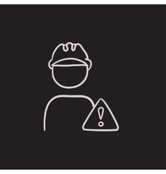 Worker with caution sign sketch icon vector image