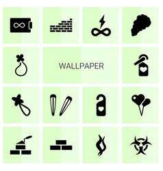 14 wallpaper icons vector image