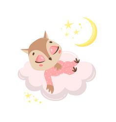 a cute cartoon owl sleeping vector image
