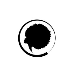 African american woman face profile round logo vector