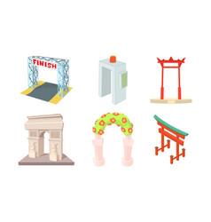 arch icon set cartoon style vector image