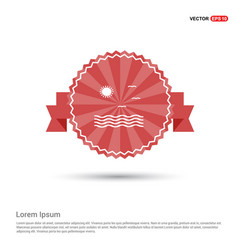 beach icon - red ribbon banner vector image