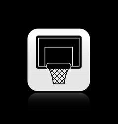 Black basketball backboard icon isolated on black vector