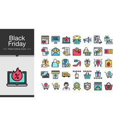 Black friday icons filled outline design icon set vector
