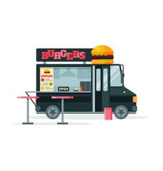 burgers food truck street meal van fast food vector image