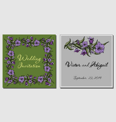 card with flowers wedding invitation vector image