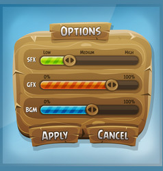 Cartoon wood control panel for ui game vector
