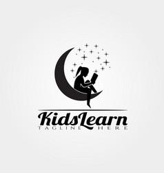 Children learning logo designkid learn vector