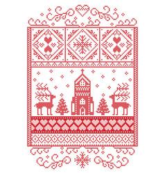 christmas pattern scandinavian with reindeer vector image