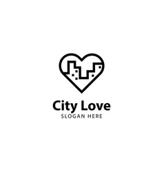 City love logo outline monoline vector