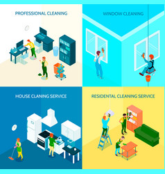 cleaning service isometric design concept vector image