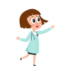 Comic woman doctor character wearing medical coat vector
