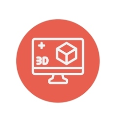 Computer monitor with 3D box thin line icon vector image