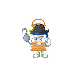 Cool one hand pirate oil lamp cartoon wearing hat vector