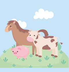 Cute horse cow and pig in grass cartoon vector