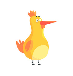 cute yellow funny chicken standing colorful vector image