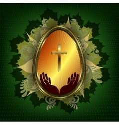 Dark green design with Easter egg vector