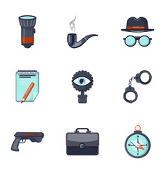 Detective equipment icons set cartoon style vector