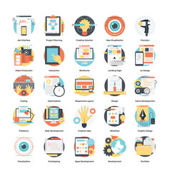 Development and design process flat icons set vector